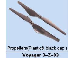 Plastic Black Cap Propellors for Voyager 3 (2 pcs, CW & CCW)